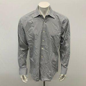 Michael Kors Dress Shirt Men's Size 16 Gray White